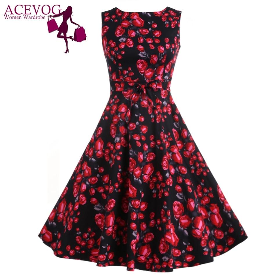 ACEVOG Vintage Swing Kleid Frauen 1950er 60er Jahre Retro Garden - Damenbekleidung - Foto 2