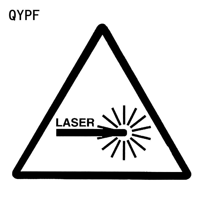 Qypf 13.7 см * 11.9 см Предупреждение лазерной знаки автомобиля Стикеры черный/серебристый винил Графический s9-2216
