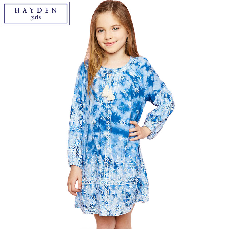 HAYDEN Girls Vintage Floral Dress 2017 Spring Children Dresses Print Flower Girl Dress Long Sleeve Teen Girl Clothes 100% Cotton girl children floral blouse shirt spring autumn long sleeve doll collar girls thin chiffon blouses tops for teen 13 14 15y fb300