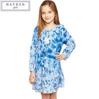 HAYDEN Girls Vintage Floral Dress 2017 Spring Children Dresses Print Flower Girl Dress Long Sleeve Teen