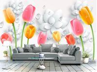 3d quarto papel de parede personalizado mural não-tecido adesivo de parede 3 d tulipa flor gotas de água pintura da foto da parede 3d murais de papel de parede