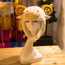 Детская милая маленькая овечка плюшевая шапка головной убор фото реквизит косплей плюшевая игрушка шляпа Рождество Хэллоуин День