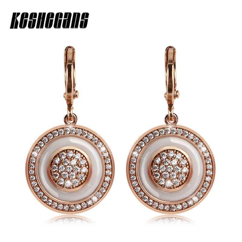 Hot Vintage Fashion Drop Earrings For Women Black White Ceramic With Shining Crystal Rose Gold Color Copper Party Jewelry Gifts