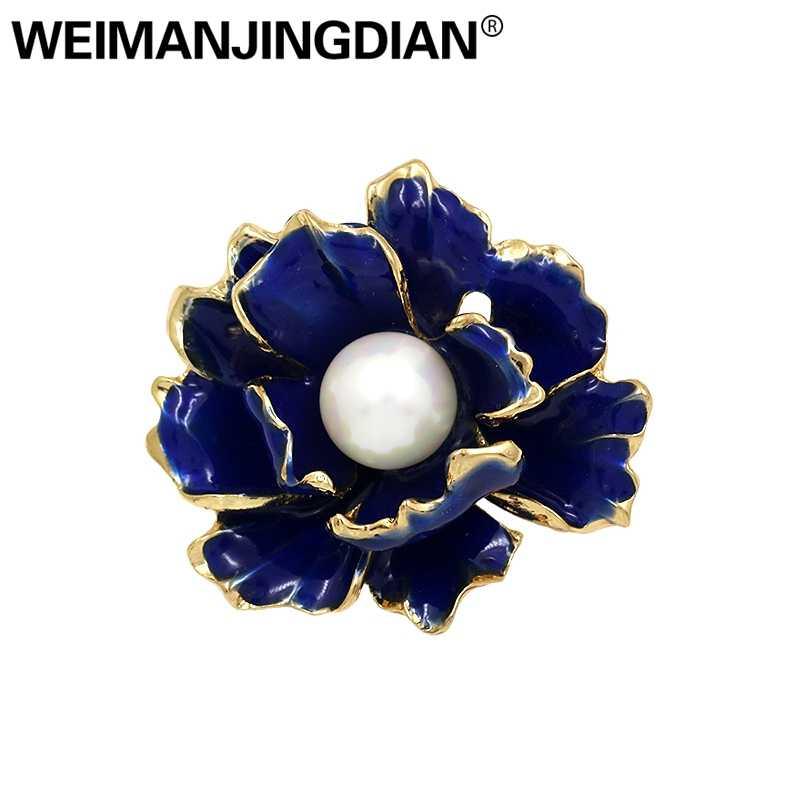 Weimanjingdian Pabrik Penjualan Langsung Enamel Biru Bunga Simulasi Mutiara Bros Pin untuk Wanita