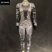 BU243 Women Black Sexy Jumpsuit Gold Or Silver Printed Flowers Sparkling Crystals Bodysuit Nightclub Party Birthday Stage Wear(China)