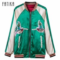 FATIKA Spring Autumn Women Thin Jackets Appliques Tops Bomber Jacket Long Sleeve Coat Slim Fit Patchwork