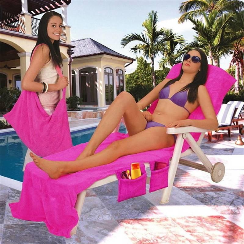 Microfiber Fiber Sunbath Lounger Bed Mate Chair Cover Beach Towel Holiday Leisure Garden Beach Serviette 30 x 83