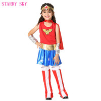 Sexy Super Girls Wonder Cosplay Fancy Dresses Superhero Kids Costumes With Waistband Foot Cover Anime Halloween Party Clothes