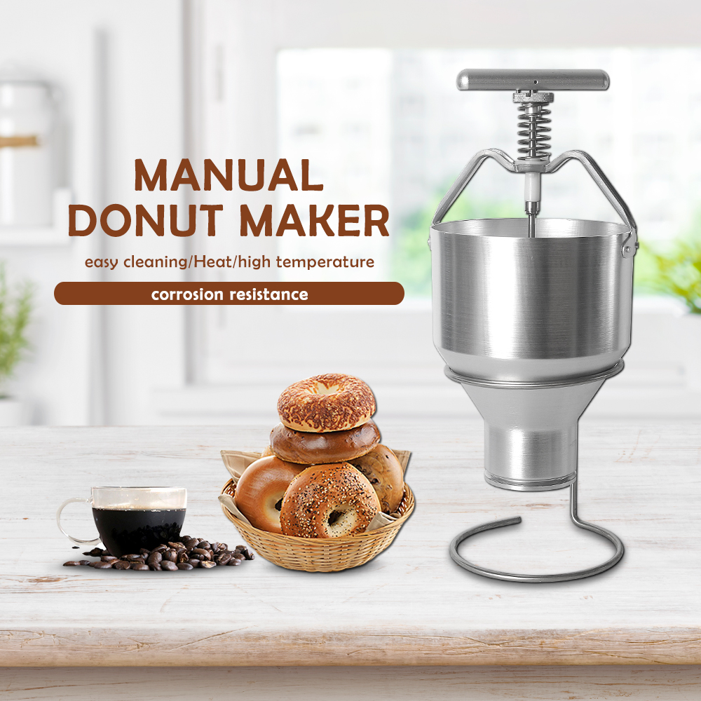 1X Stainless Steel Bakeware Maker Donut Batter Dispenser Funnel Measuring Label