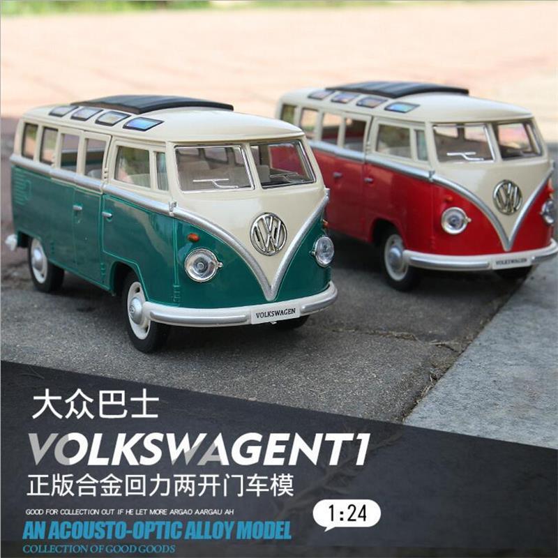 High Simulation Model 1:24 Alloy Diecast Classical Minibus RMZ T1 Bus City  Pull Back Toy Car Mini Van Bus