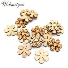 WISHMETYOU 50pcs Wood Chips Six-Petal Flower For Kids Handcrafts Scrapbooking Decor DIY Craft Embellishment Supplies Making
