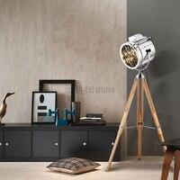 Modern American Adjustable Floor Lamps Gold Chrome Searchlight Wood Fodable Tripod Floor Lights For Foyer Study Livingroom