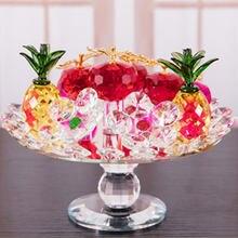 Artificial Enfeites de Cristal Girando Presentes Artesanato Presentes de Decoração Para Casa Ornamentos Ornamentos Prato de Frutas Maçã