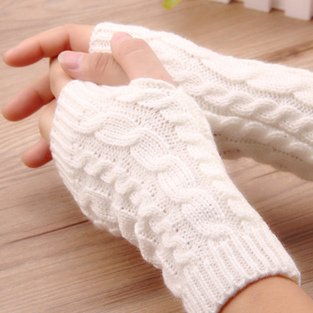 1PCS20Cm Women Gloves Stylish Hand Warmer Winter Gloves Arm Crochet Knitting Faux Wool Mitten Warm Fingerless Gloves Gants Femme