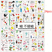 24pcs/lot Child Temporary Tattoo Body Art Carton Flash Tattoo Sticker Keep 3-5 Days Waterproof Tatouage Temporaire