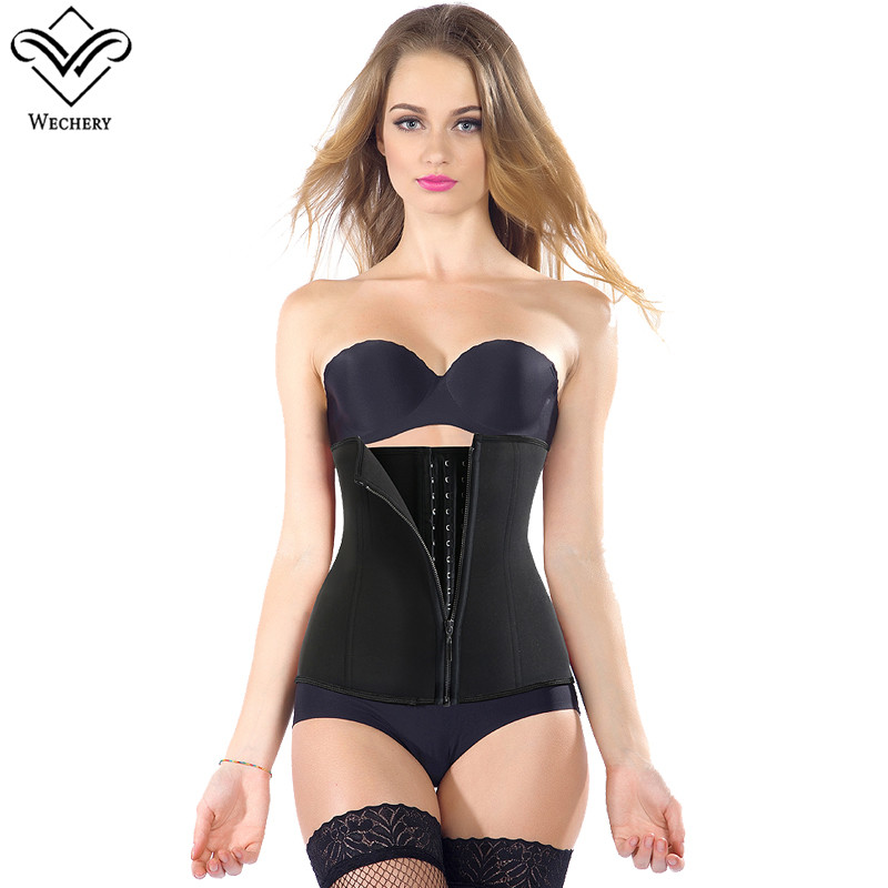 Wechery Waist Trainer Corset Slimming belly Belt Modeling Strap Neoprene Waist Cinchers Body Shaper Latex Corset 9 Steel bones