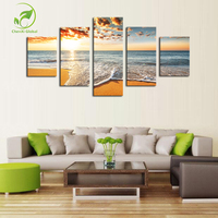 5 Piece No Frame Sunset Sea Modern Home Wall Decor Canvas Picture Art HD Print Painting