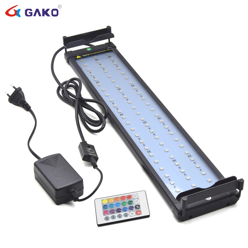 11W 50-75cm Color Changing lamp Aquarium LED Lighting for Fish Tank RGB LED light for aquarium Dimmable Remote Controller