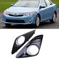 Черный авто передний бампер для вождения Противотуманные фары Крышка лампы рамка Накладка для Toyota Camry 2012-2014