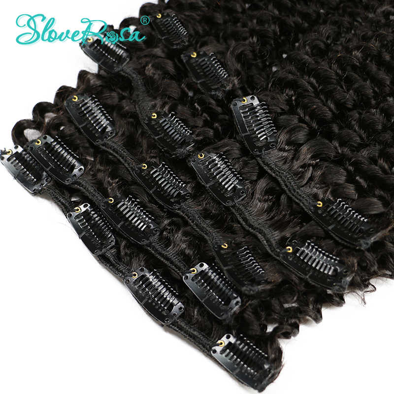 Afro Kinky Curly Clip In Human Hair Extensions Brazilian 100% Remy Slove Rosa Hair 120g/Set Natural Color No Tangle Hair Bundles