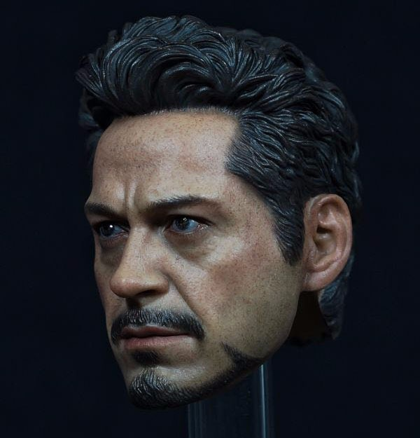Latest Style1/6 Scale Avengers Iron Man Tony Male Head sculpt Model Fit for 12 Action Figure Men Bodies 1 6 scale male head sculpts model toys downey jr iron man 3 captain america civil war tony with neck sets mk45 model collecti f