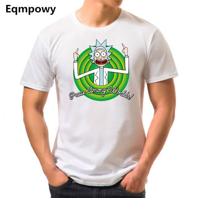 Eqmpowy Лето 2017 г. новый аниме Прохладный Рик Морти принт Для мужчин футболка 100% хлопок Повседневное смешные короткие Футболки