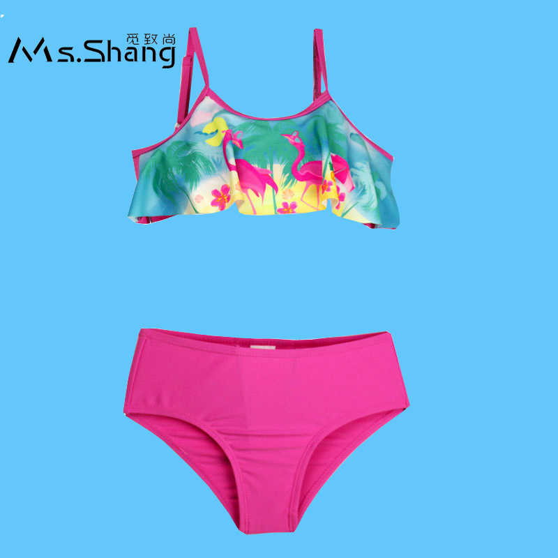 bcd6ad5013 Ms.Shang 3-10 Years Swimming Suit for Girls Two Piece Children Swimwear Baby