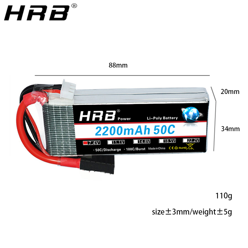 Image 2 - HRB 7.4V 2200mah Lipo Battery TRX 2S XT60 50C T Deans JST RC Parts For Traxxas Summit Slash VXL 1/16 4WD Monster Cars AirplanesParts & Accessories   -