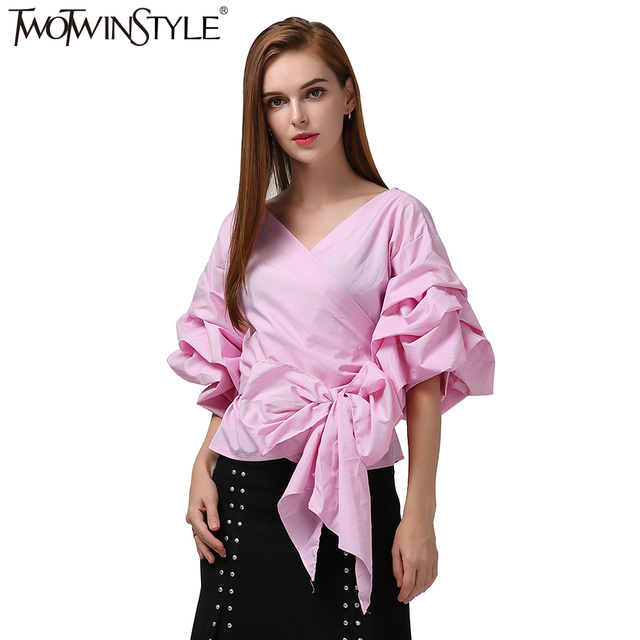 TWOTWINSTYLE up Dentelle Chemisier Vêtements de Top Femme Tunique Chemise Tops Femmes Plaid Bouffantes Manches Kimono PwaBqPr