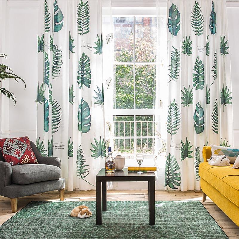 rideau en lin imprime 3d moderne design creatif pour chambre a coucher salon tulle feuilles vertes traitements de fenetre m 09