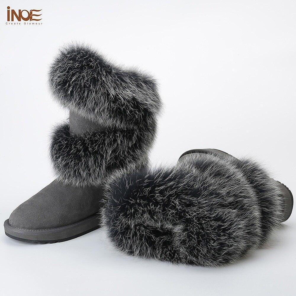 INOE/Роскошные модные женские зимние сапоги из мягкой лисьего меха; зимняя обувь из овечьей замши с меховой подкладкой; Цвет черный, серый - 4
