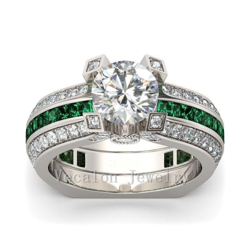 Vecalon Женщина мужчина Роскошные Ювелирные Изделия Обручальное кольцо Зеленый циркон Cz Стерлингового Серебра 925 обручальное кольцо для женщин мужчин
