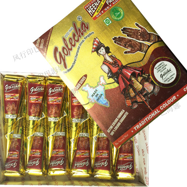 Body Paint Temporary Indian Golecha Henna Cones 25g Red Ink 10 Pcs