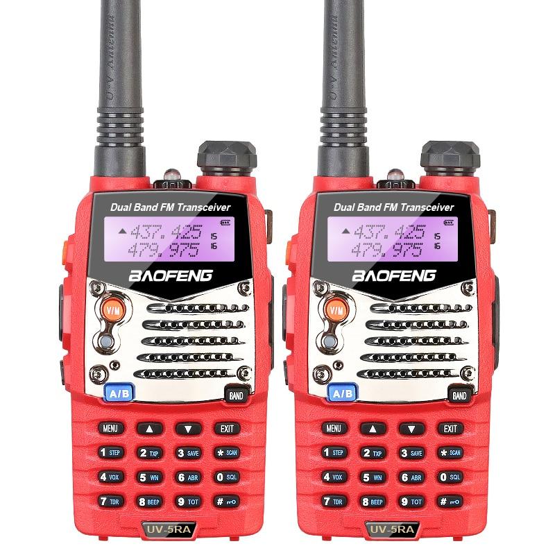 2PCS LOT Baofeng Red UV 5RA For Police Walkie Talkies Scanner Radio Vhf Uhf Dual Band