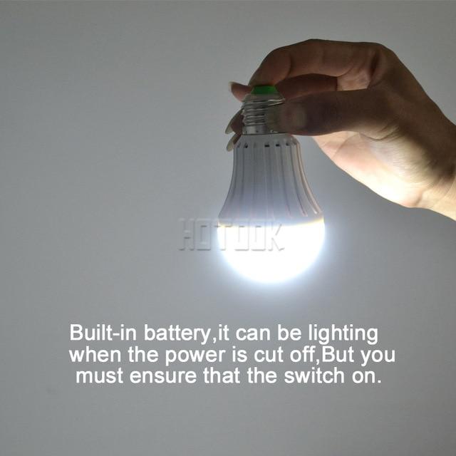 HOTOOK LED Emergency Light E27 7W 9W 12W Smart Bulb Rechargeable Battery lighting Lamp for home indoor lighting bombillas