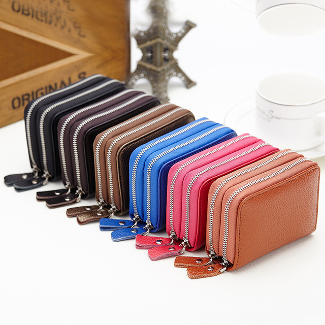 Genuine Leather Women Credit Card Holder Wallet Cowhide Leather Cardholder Men Card Purses with Zipper Coin Pocket