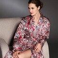 Женский Шелк Осенью и зимой Утолщенной хлопок Большой размер печати С Длинными рукавами Шелковой ночной рубашке