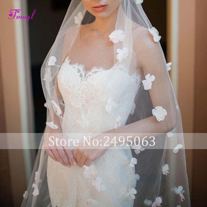 Fmogl charmante bretelles Appliques robe de mariée sirène 2019 fleurs gracieuses dentelle princesse trompette robe de mariée robe de Noiva - 5