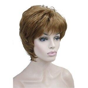 Image 2 - StrongBeauty frauen Perücken Natürlichen Flauschigen Asche Blonde Kurze Gerade Synthetische Volle Perücke 7 Farbe