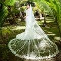2016 Clássico Designer Tulle Bridal Veils com Pente Comprimento Catedral Branco Marfim Praia vestidos de Casamento Véus De Noiva Com Apliques