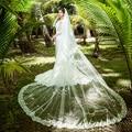 2016 Diseñador Classic Tulle Nupcial Velos con el Peine Longitud Catedral Blanco Marfil Playa vestidos de Novia Velos de novia Con Apliques
