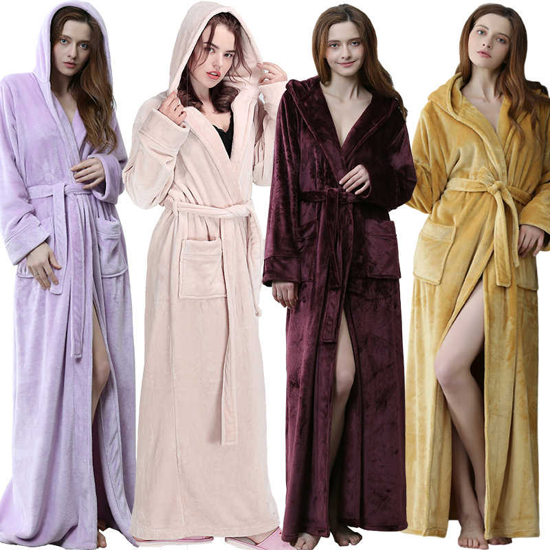 cfc754ae07 Women Men Winter hooded Extra Long Warm Bathrobe Luxury Thick Flannel Bath  Robe Plus Size Soft