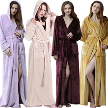 Women Men Winter hooded Extra Long Warm Bathrobe Luxury Thick Flannel Bath Robe Plus Size Soft Thermal Dressing Gown Sexy Robes cheap RUILINGSHA Polyester Coral Fleece Solid Full Ankle-Length Extra Long Thicken Warm Robe