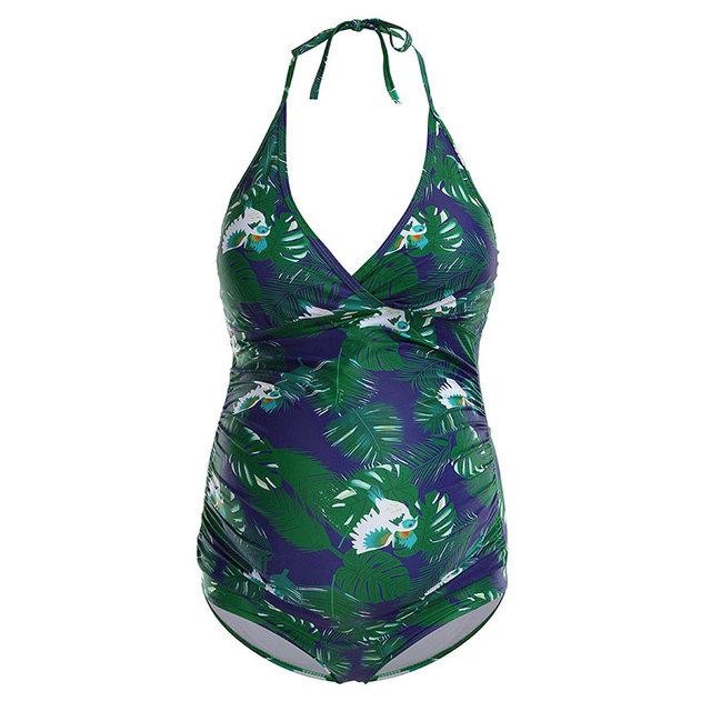 Verano de maternidad de moda traje de tirantes de playa Impresión de hoja de baño ropa de playa para mujeres embarazadas embarazada embarazo Sexy XXL