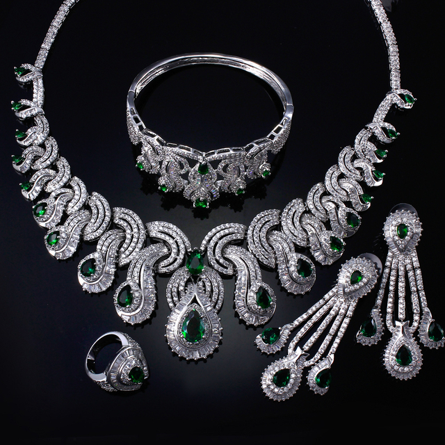 Women Bridal Jewelry Sets rhodium plated with Cubic zircon 4pcs sets ( necklace + bracelet + earrings + ring) free shipment
