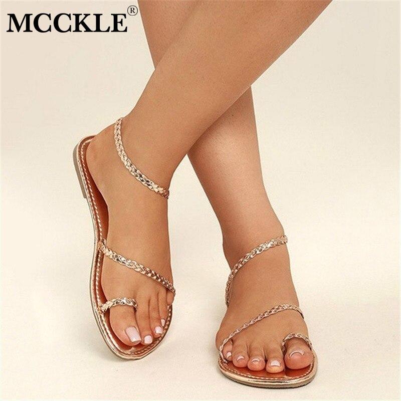 MCCKLE בתוספת גודל חוטיני סנדלי קיץ נשים כפכפים אריגת מזדמן חוף שטוח עם נעלי רומא סגנון נקבה סנדל נמוך עקבים