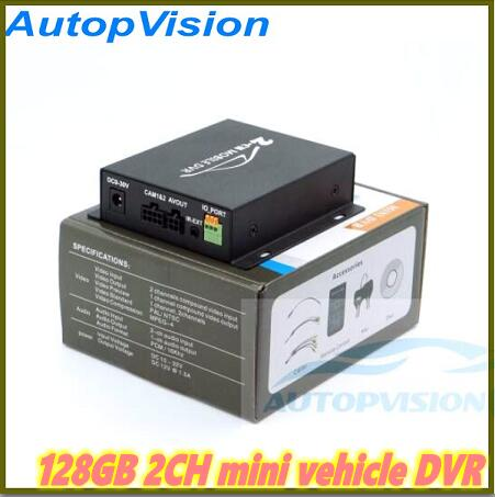 2Ch Mini Vehicle Car Video Recorder Car/Bus Mobile Car Video DVR I/O Alarm Motion Detect Black In Stock Max Upto 128GB SD Card