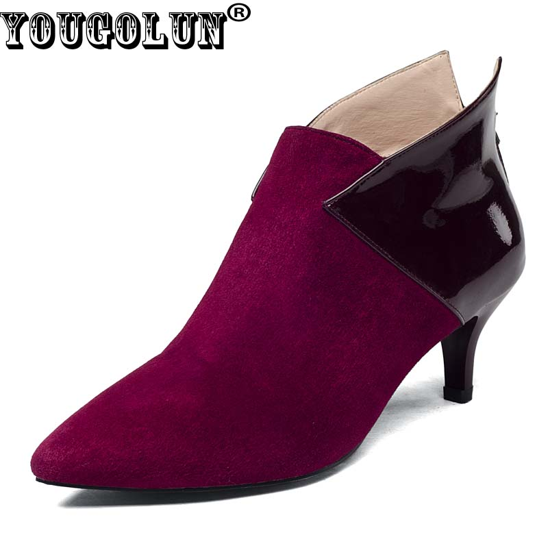 YOUGOLUN Women Ankle Boots Cow Suede 2017 Spring Autumn Thin Heels 6cm High Heel Black Wine red Pointed toe Shoes #Y-003 yougolun women ankle boots suede leather mid thin heels 6cm fashion mixed colors pointed toe shoes woman wine red black boots