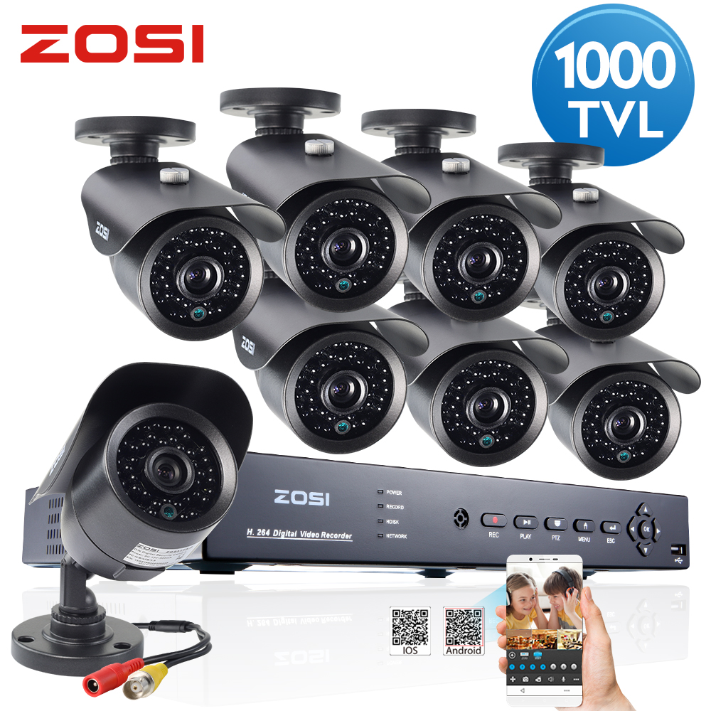 ZOSI 16 CH Channel 720P DVR 1500TVL Surveillance Security Camera System US 8