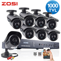 ZOSI HD 8CH CCTV System HDMI 960H DVR 8PCS 1000TVL IR Outdoor Video Surveillance Security Camera System 8 channel DVR Kit
